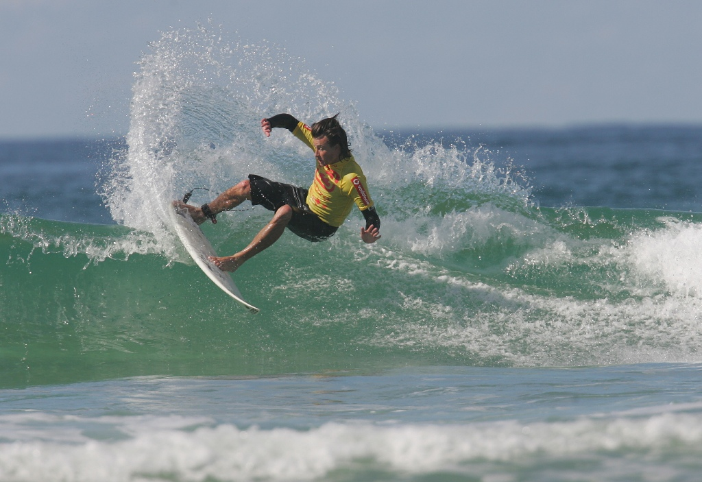 Surfer Jay Phillips in the Coolum Classic Surfing Contest.