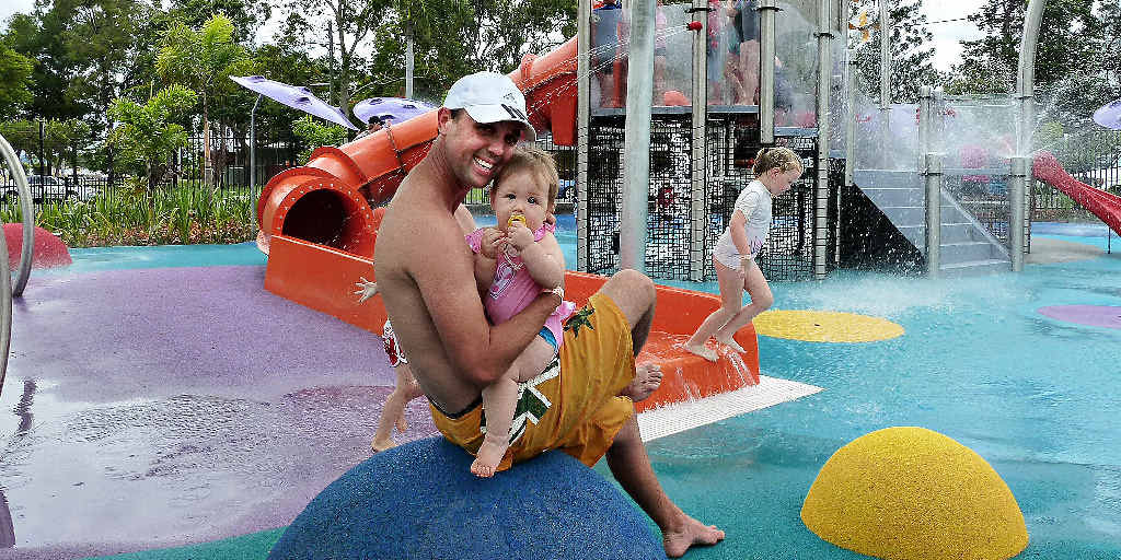 Peter Lashford and his daughter, Mackenzie Mcleod cool down at the revamped Moranbah Aquatic Centre on opening weekend.