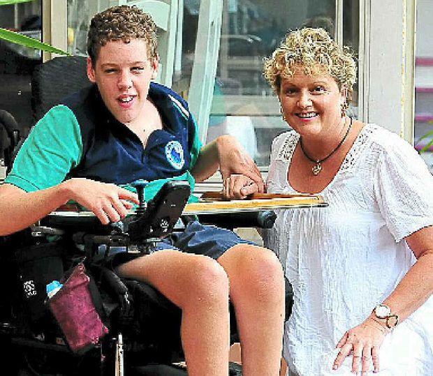 Leanne Walsh and her wheelchair-bound son Kurtis.