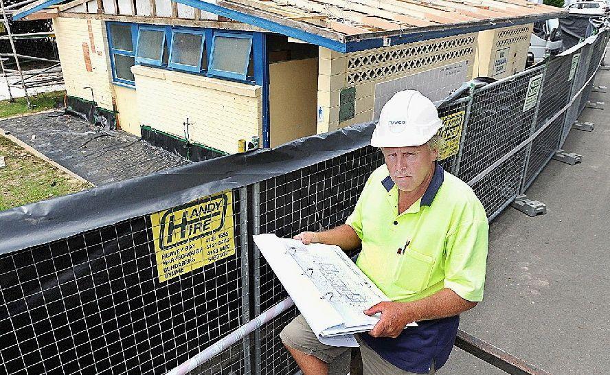 Foreman David Moore keeps an eye on building progress at the Pialba Caravan Park.