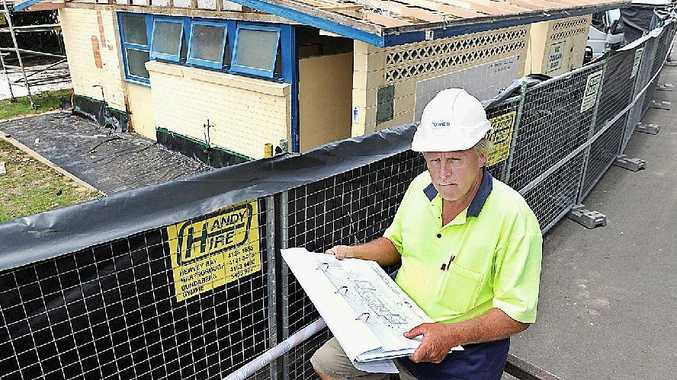 Foreman David Moore keeps an eye on building progress at the Pialba Caravan Park.