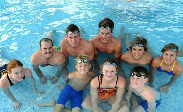 Gympie Gold Fins swimmers are off the state sprints in Brisbane. Pictured (from left) are Lucy Connolly, David Lee, Scott Gear, Troy Carlson, Daniel Allen, Anna Cartwright, Ajay Toffoli, Darcy Cartwright and Jasmine Long. Absent: Sammy Cumner and Elise Forward.