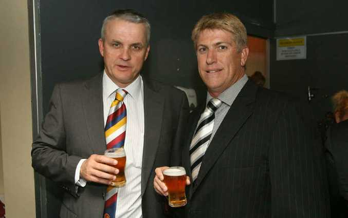 Broncos coach Anthony Griffin and Rob Crow at the Capras launch dinner at the Rockhampton Leagues Club last night.