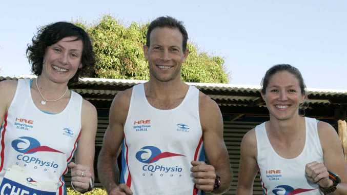 Scott Lawton and Kelly Spottiswood, pictured with Leah Cheal, will be favoured to do well in tomorrow's triathlon at Mercure Capricorn Resort.