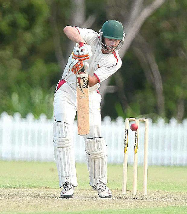 Scorchers batsman Peter Dein on the attack.