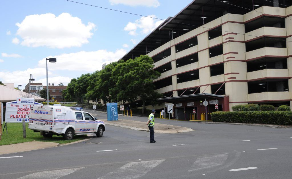 Police cordoned off the Toowoomba Hospital earlier today after a suspicious device was found in a car outside the emergency department.