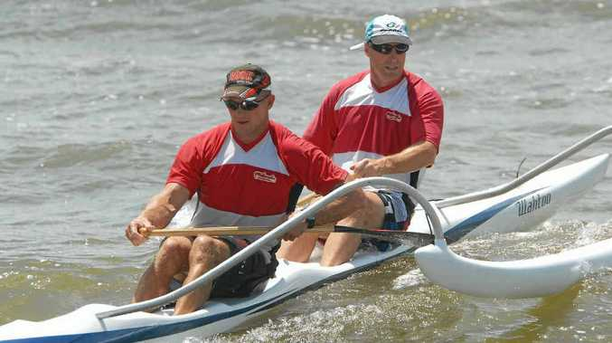 Darrell Thoroughgood (left) and Mark Bright won their third national outrigger canoe title.