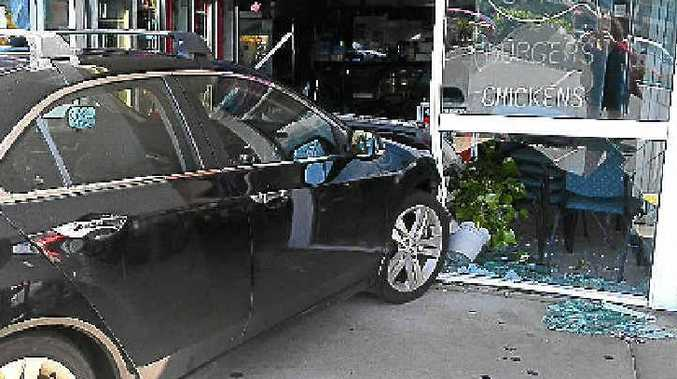 A driver lost control of her car and crashed into Porkies Diner at Minyama.