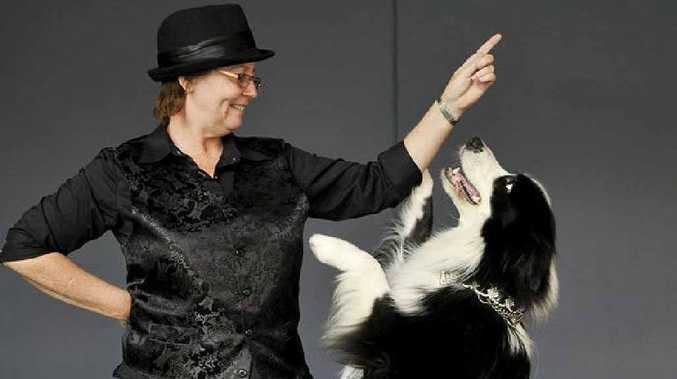 Maree Rablin leads her dog Chook through a complex dance routine.