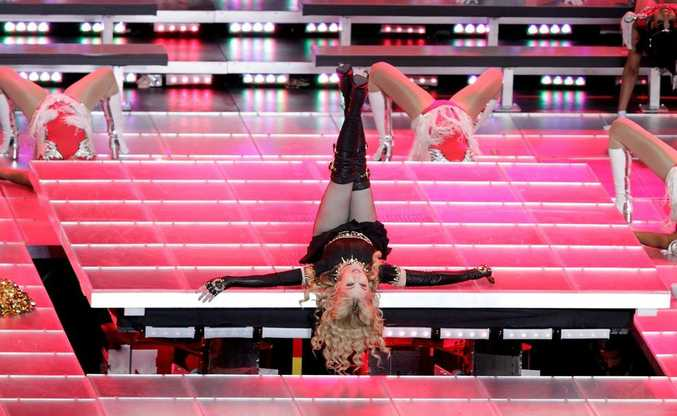 Madonna performing during the Super Bowl XLVI Halftime Show.