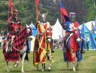 Knights prepare to do battle in the tournament at Blenheim Palace.