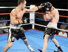 Hervey Bay's Jarrod Fletcher (left) goes on the attack against William Hadlow in his last bout.