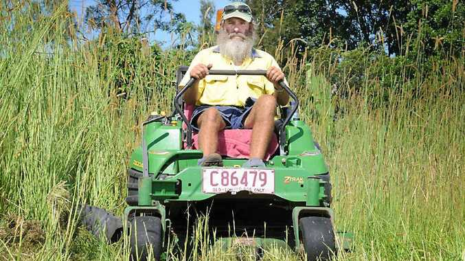 Rob Burns' business, Golden Acres Mowing, has recovered from a dry spring now that the grass is growing thick and fast in this tropical weather.