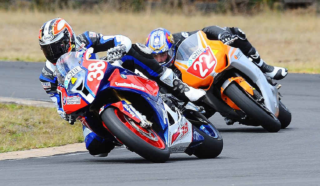 Nathan Houterman, pictured in hot pursuit of a rival last year, is aiming to continue his improvement in the Australian Superbike series this season.
