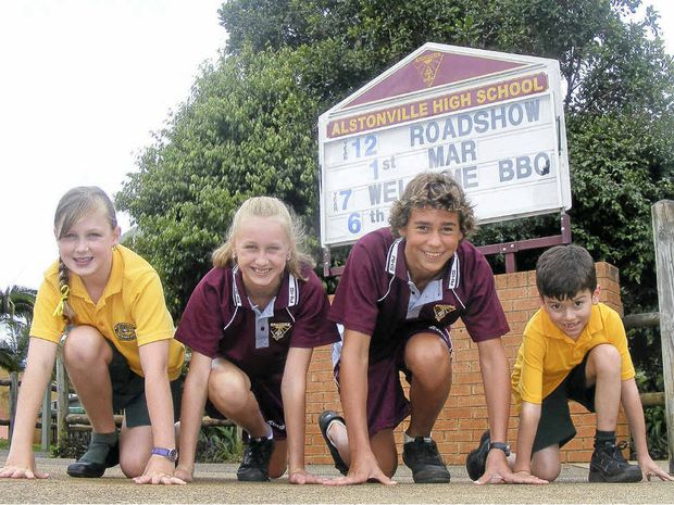 READY TO RUN: Gearing up for the Alstonville-Wollongbar Fun Run Challenge are (from left) Wollongbar student Casey Kershaw, Alstonville High's Jade Kershaw and Tom Fleming, and Wollongbar's William Black.