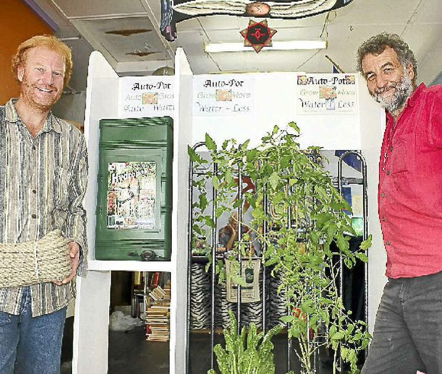 Keith Bolton and Wayne Wadsworth with their hemp board home garden.