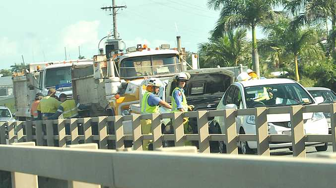Ron Camm Bridge pile-up causes traffic delays.