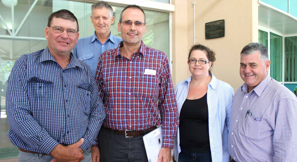 Landholders Leon Clothier and John Paull, SunWater's Wayne Liebelt and Robyn Desretts with AgForce vice-president Ian Burnett.