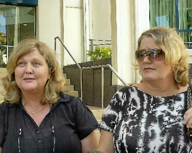 Joanne McNaught and her sister-in-law Anne Rose outside the inquest into the death of Anne's mother, Judith McNaught.
