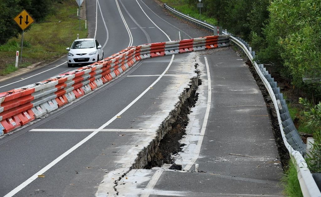 A section of Pine Creek Way will be closed today to allow road crews to fix a major landslip.