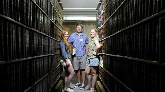 (From left) Ballina High School student Nada van Kempen, 16, Sonny Thomas, 16, of Trinity College and Ellyssa Mchinley, 17, of Ballina High School are among 54 students who have been given the chance to start university early at Southern Cross University.