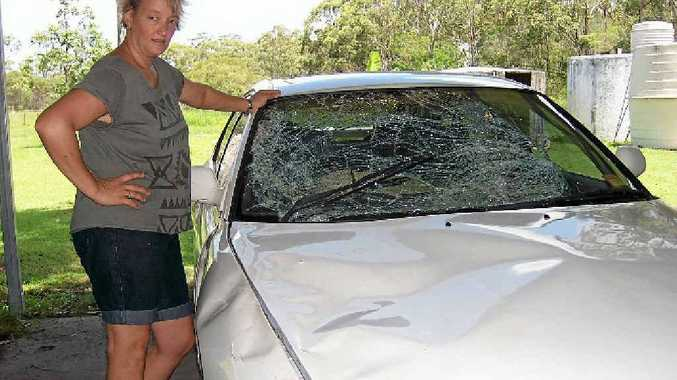 Lyndal Roth inspects the damage done to her car after she hit a kangaroo.