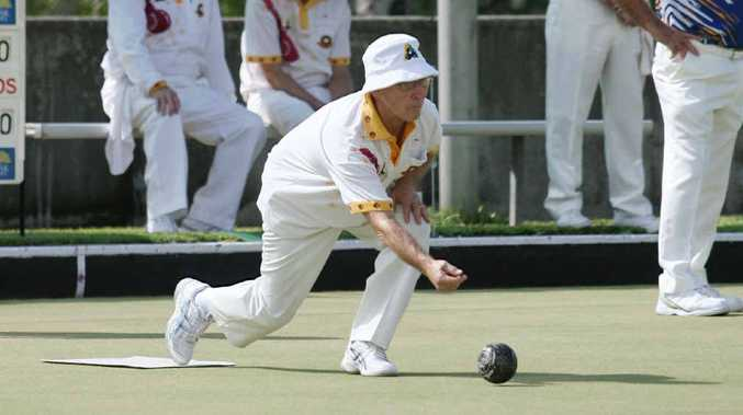 Diggers' Bill Cameron sends down another bowl on his way to victory over North Rockhampton's Paul Schafferius.