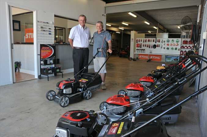 Pacific Mowers owner Kevin Kerr, right, with his business mentor Grahame Milton.