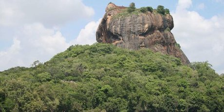 The fortress, as seen from from Sigiriya tank (a man-made lake).