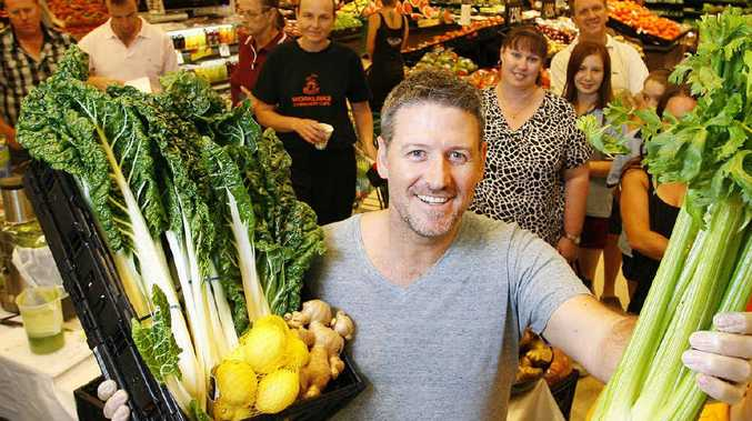 Filmmaker Joe Cross demonstrated how to make fresh juices at Booval Fair Woolworths.