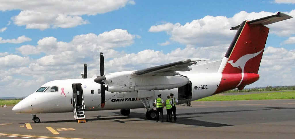 This Qantas plane made a forced landing at Moranbah Airport yesterday after smoke was discovered in its cabin.