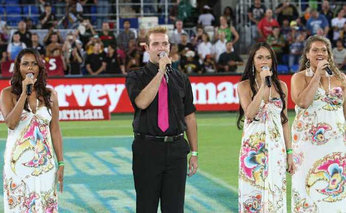 Rocky product Garret Lyons, 20, performs at the Indigenous All Stars v NRL All Stars game at Skilled Stadium last Saturday night.