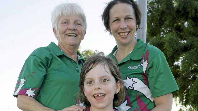 Helen Christensen, Kerry Christensen and Zoe Brown (front) are three generations of Runaways players.