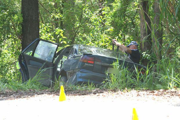 Police at the scene of a fatal car crash on Brandenberg Road, Mooloolah.
