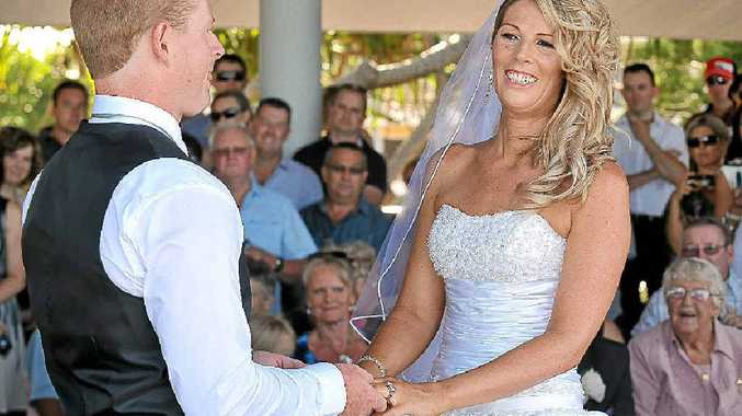 Cancer survivor Kristy Corbett looks radiant at her marriage to Johny Blaikie at the Loo With A View, Mooloolaba, yesterday.