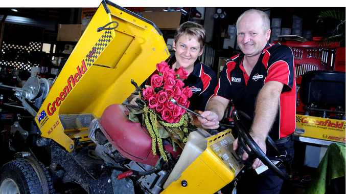 LOVE YOU MOWER AND MOWER EACH DAY: Robyn and Ross Honnery from Gympie Mower Centre celebrate their 23rd Valentine's Day together today and have used this opportunity to urge readers to support local businesses when purchasing gifts for their loved ones.