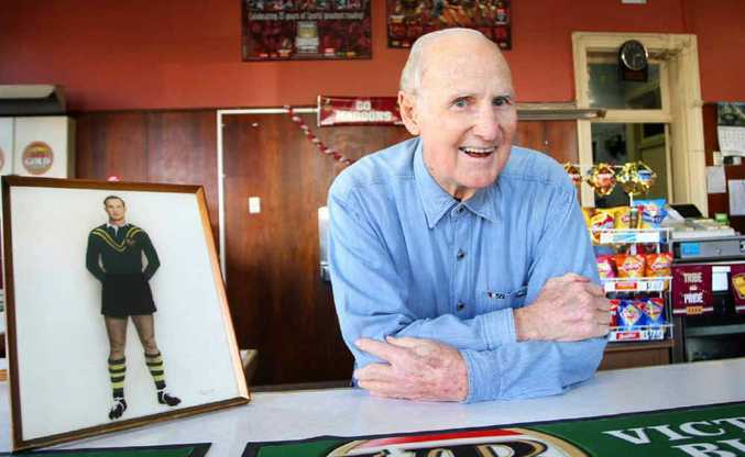 TWO OF THE BEST: Ipswich and Australian rugby league great Denis Flannery (left) at his Ulster Hotel and dedicated cricket curator Les Kinnane. Photos: File