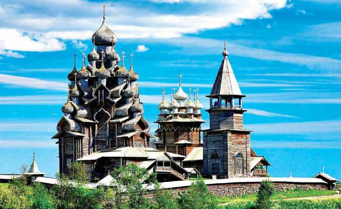 LOCAL COLOUR: Distinctive Russian church design.