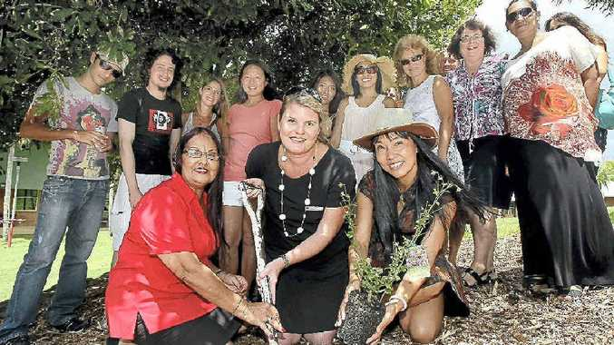 A native pink hibiscus is planted at Kingscliff TAFE in recognition of the National Apology to the Stolen Generation.