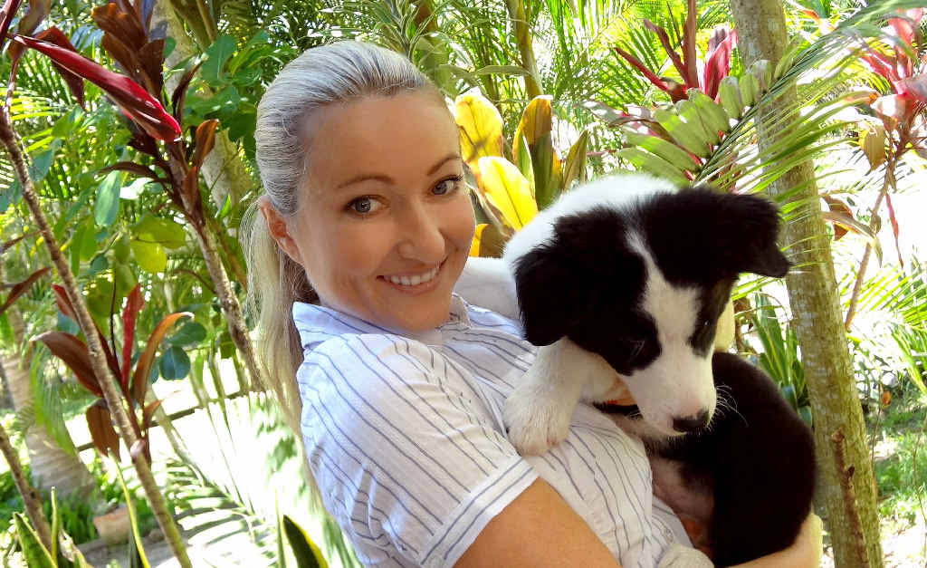 Mackay's Sonia Carroll, with Tobi, on the set of the movie Tobi, which will be filmed in the US. The heartfelt family movie is about surviving the human race through the eyes of a dog.