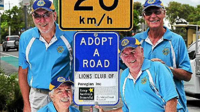 ROAD WATCH: Lions Club of Peregian members (from left) Barry McPhee, Frank Gava, Len Steele and Ross Paine.