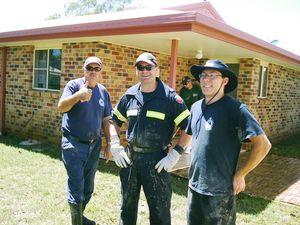 Firies clean up flood zone