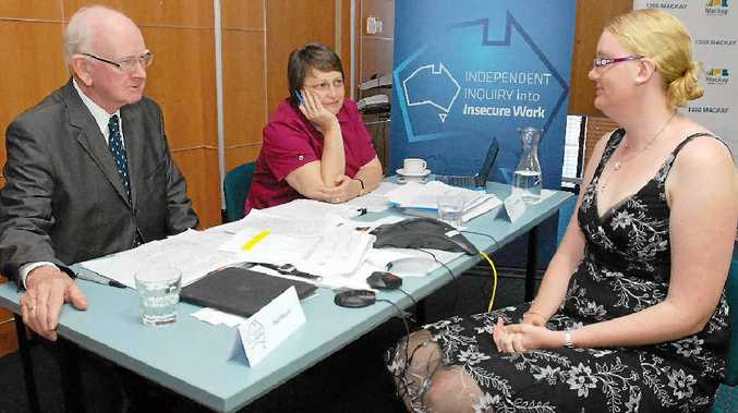 Nicola Hinder (right) talks with panel members Paul Munro and Jill Biddington about her employment situation during the Independent Inquiry into Insecure Work in Australia hearing held in Mackay yesterday.