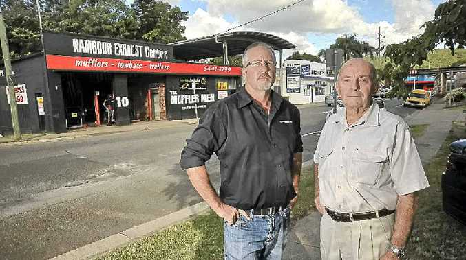 TIME TO GO: Price St, Nambour business owner Craig Lucey and neighbouring landlord Graham Chapman have suffered from flooding.