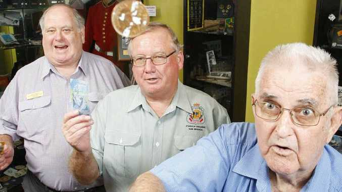 Ipswich RSL Services Club members (from left) Geof Kleinig, secretary John Dredge and president Peter Felton are happy about new laws that allow two-up to be played on Anzac Day.
