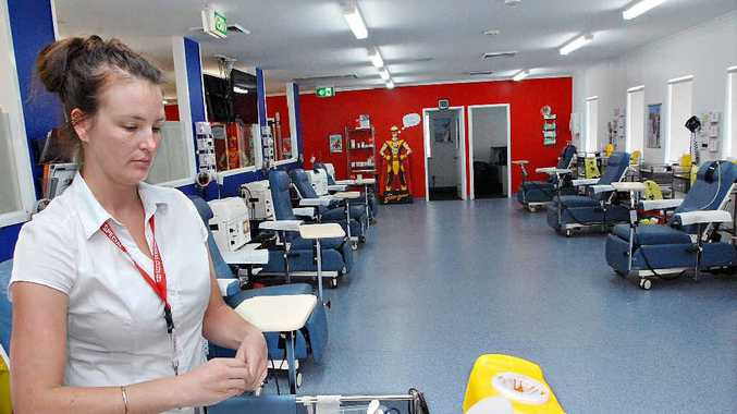 Clinical Nurse at Mackay Blood Bank Hayley Cross prepares for new donors.