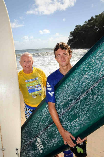 Win and Matt Cuddihy, of Peregian Beach, are hot favourites in the Family Challenge event of the Noosa Festival of Surfing starting next month