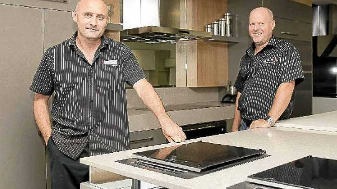 Look Cabinets owners Hamish Forward and Jeff Pratt at the new factory and showroom at Yandina.