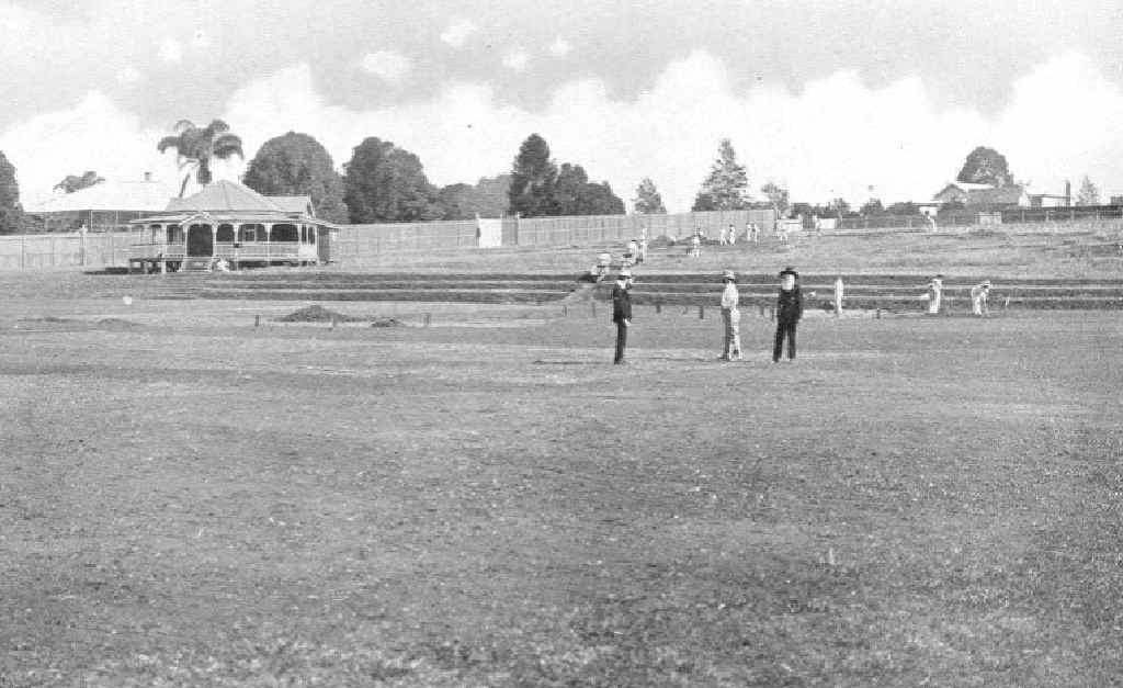 Occupational therapy patients of Wolston Park help to build Ellerton's cricket ground in 1911. Photo: Contributed