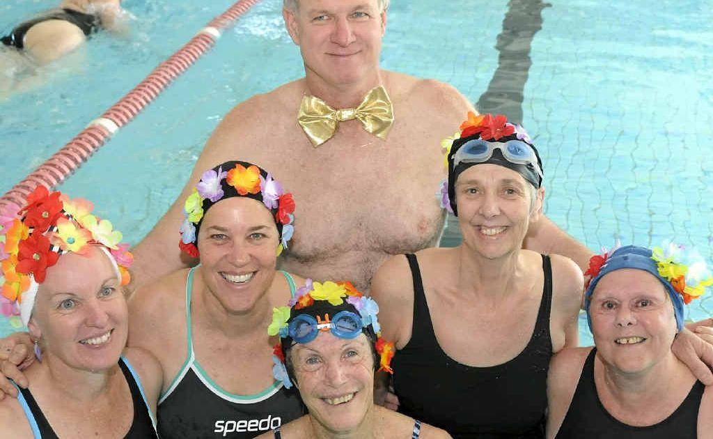 The Beauties and Beaus team at the Gladstone Gropers Masters Swimming Cub's 25-year celebrations charity swim.